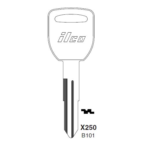 Ilco X250, B101-P (B101) Key Blank : Honda Automobiles