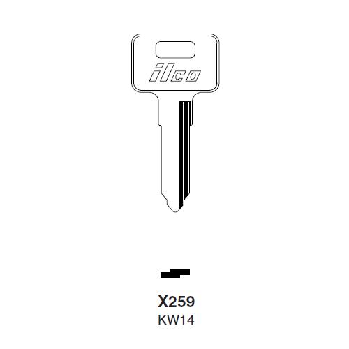 Ilco X259 Key Blank : Cagiva, Kawasaki, Mv, Polaris, Suzuki Motorcycles, Triumph Motorcycles,