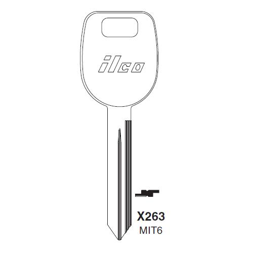 Ilco X263, MIT6-P (MIT6) Key Blank : Mitsubishi