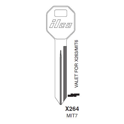 Ilco X264 (MIT7) Key Blank : Mitsubishi