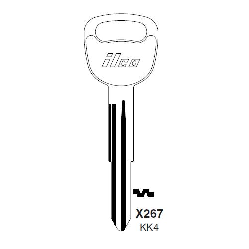 Ilco X267, KK4-P (KK4) Key Blank : Kia