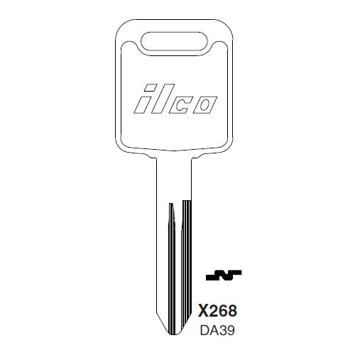 Ilco X268, DA39-P (DA39) Key Blank : Nissan