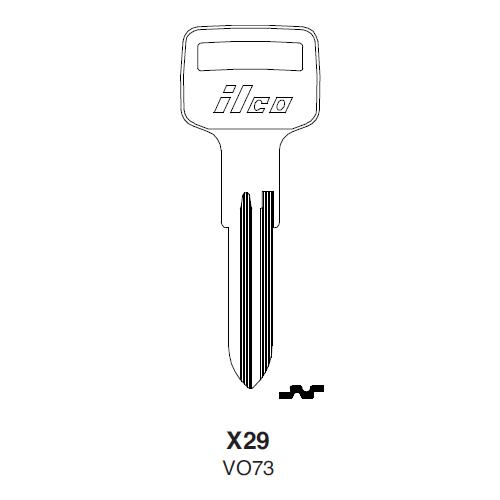Ilco X29 (VO73) Key Blank : Autobianchi, British Leyland, Rover, Volvo