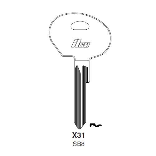 Ilco X31 (SB8) Key Blank : Saab