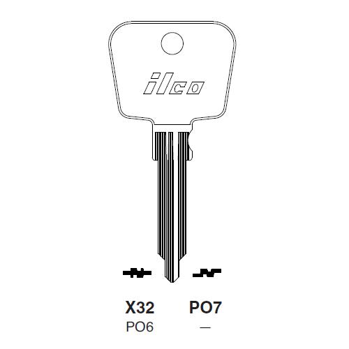 Ilco X32 (PO6) Key Blank : Porsche