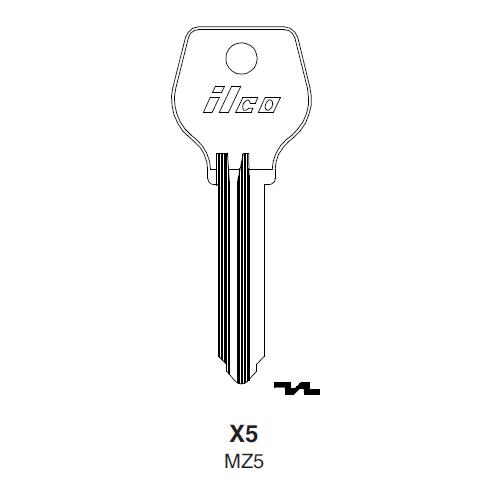 Ilco X5 (MZ5) Key Blank : Ford, Madza