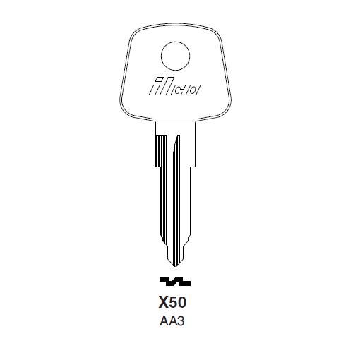 Ilco X50 (AA3) Key Blank : British Leyland, Iveco