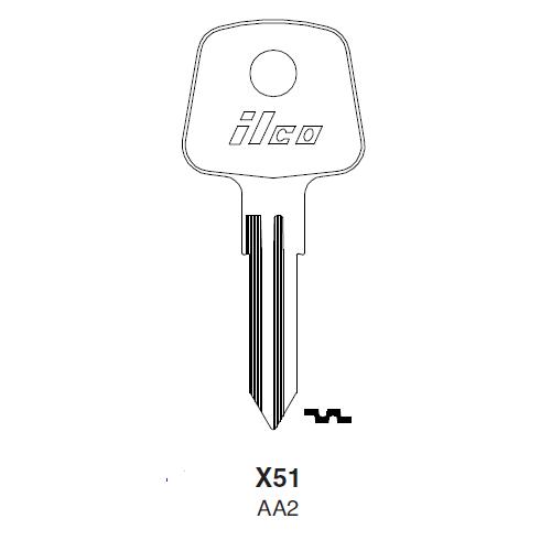 Ilco X51 (AA2) Key Blank : Audi, Bedford, British Leyland, Honda Autumobilies, Jaguar