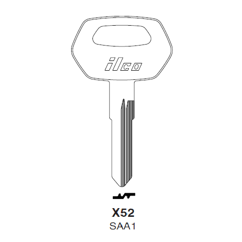 Ilco X52, SAA1-P (SAA1) Key Blank : Saab