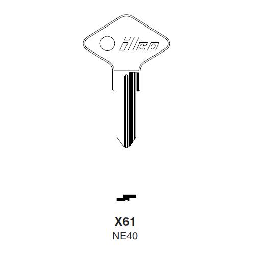 Ilco X61 (NE40) Key Blank : Renault