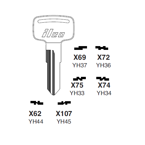 Ilco X62 (YH44) Key Blank : Yamaha