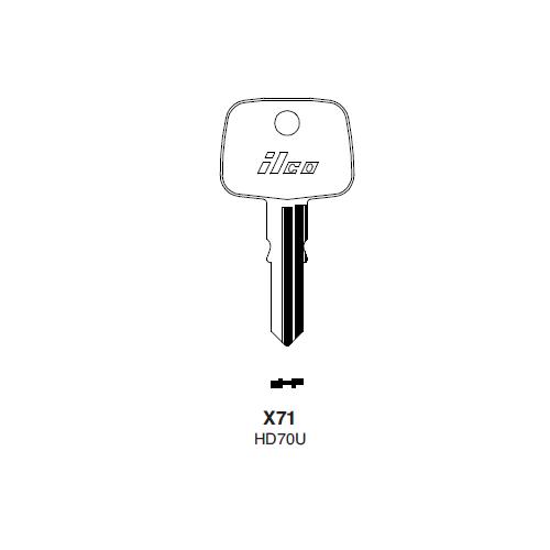 Ilco X71, HD70U-P (HD70U) Key Blank : Honda Automobiles