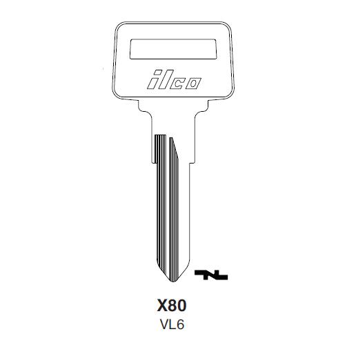 Ilco X80 (VL6) Key Blank : Volvo