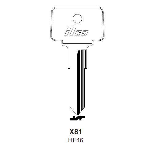 Ilco X81 (HF46) Key Blank : Clum Inboard Motors, Mercury, Mariner Outboards