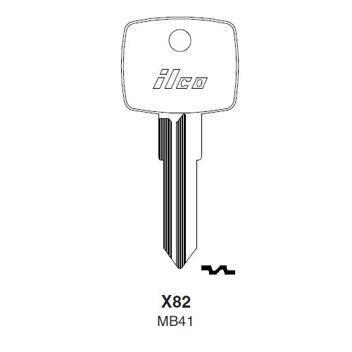Ilco X82, MB41-P (MB41) Key Blank : Mercedes Benz