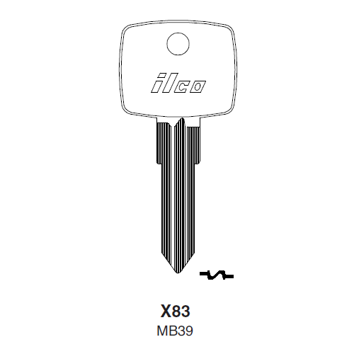 Ilco X83, MB39-P (MB39) Key Blank : Mercedes Benz