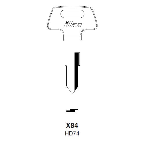 Ilco X84 (HD74) Key Blank : Honda Motorcycles, Kymco
