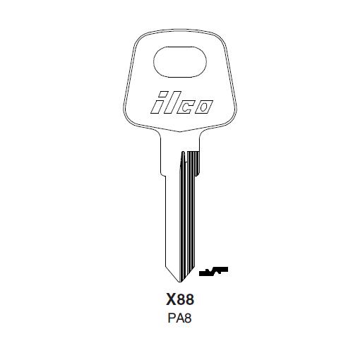 Ilco X88 (PA8) Key Blank : Audi, VW