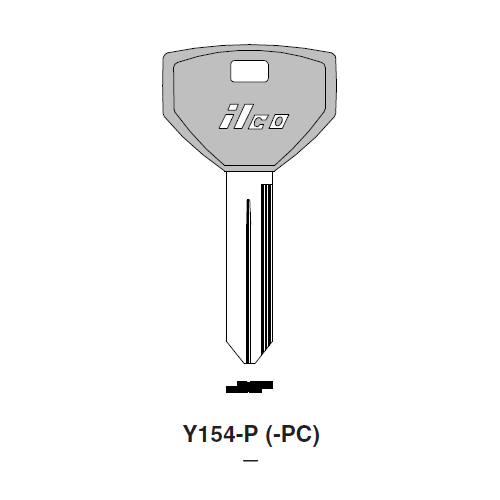 Ilco  Y154-P Chrysler Plastic Head Key Blank; ( Y154,  P1789 )