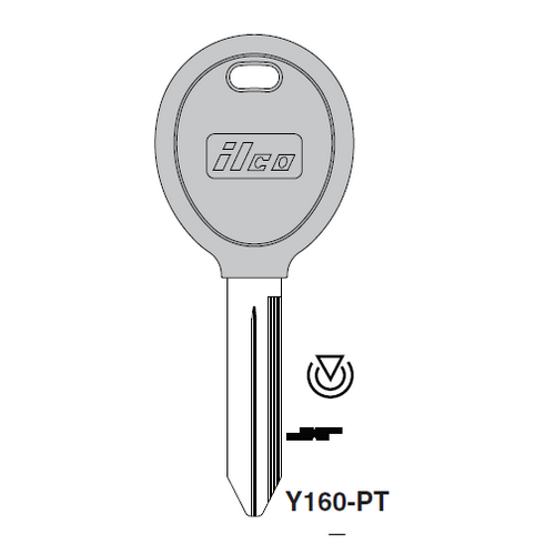 Ilco Y160-PT Transponder Key Blank; Chrysler