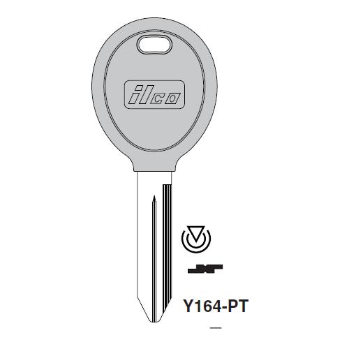 Ilco Y164-PT Transponder Key Blank; Chrysler, Mitsubishi