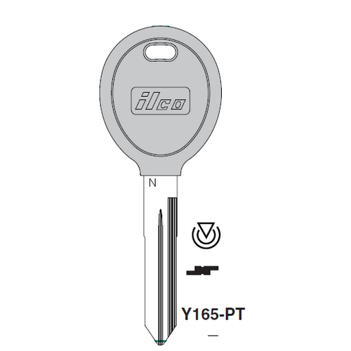 Ilco Y165-PT Transponder Key Blank; Chrysler