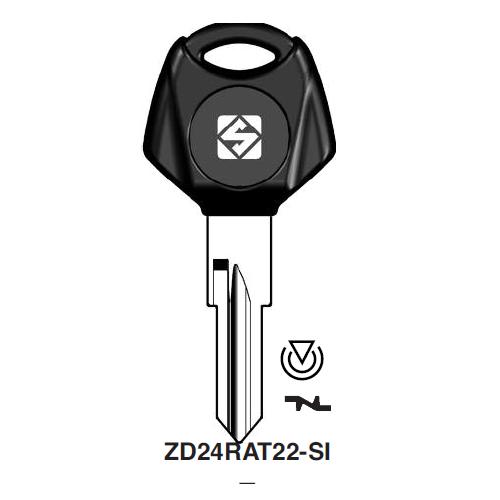 Ilco ZD24RAT22-SI Transponder Key Blank; Zadi
