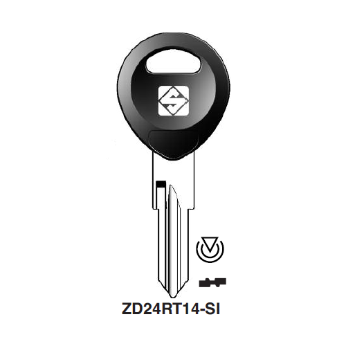 Ilco ZD24RT14-SI Transponder Key Blank; Honda Motorcycles