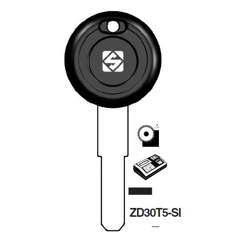 Ilco ZD30T5-SI Transponder Cloneable Key Blank; Aprilia, Moto Guzzi