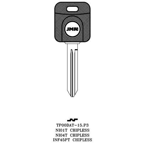 JMA TP00DAT-15.P3 Chipless Key Blank; INFINITI, NISSAN - NI01T, NI04T, INF45PT