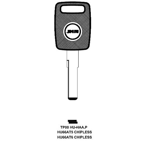 JMA TP00HU-HAA.P Chipless Key Blank; AUDI, PRORSCHE, VOLKSWAGEN - HU66AT6, HU66AT5