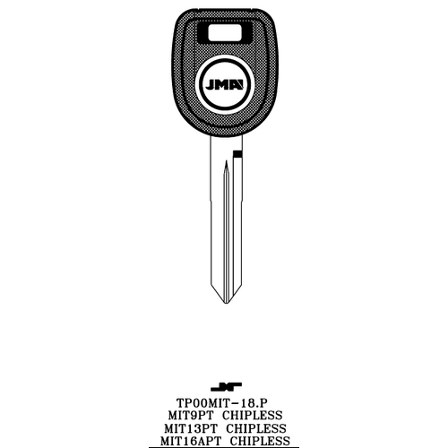 JMA TP00MIT-18.P Chipless Key Blank; MITSUBSHI - MIT9PT, MIT13PT, MIT16APT