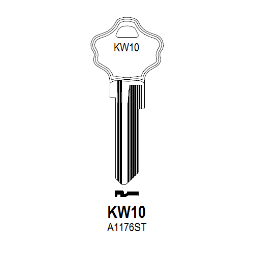 Taylor by Ilco A1176ST, KW10 Key Blank : Kwikset - 1-8260